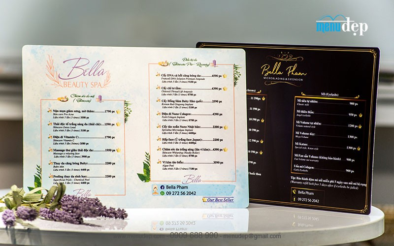 in menu poster spa